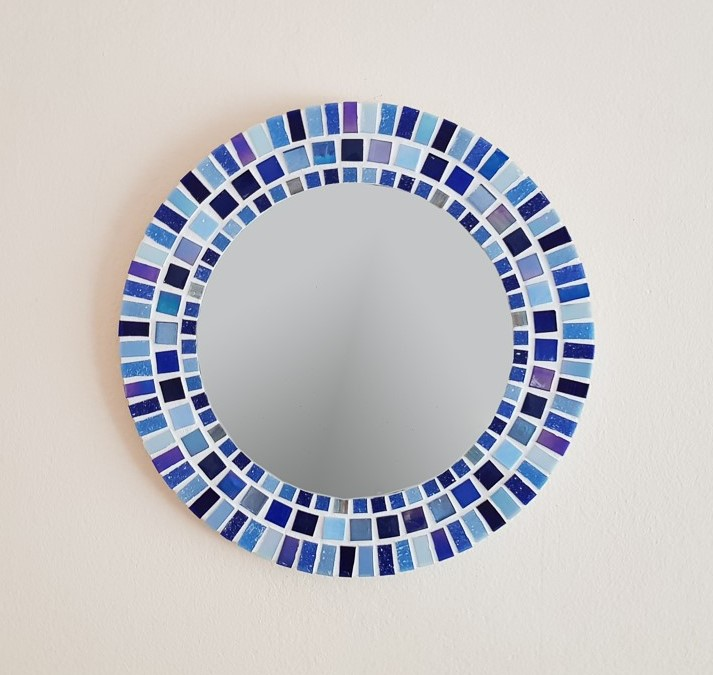 Small Round Mosaic Wall Mirror In Shades Of Blue