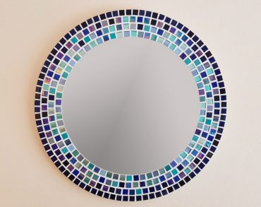 Blue and Turquoise Circular Mosaic Mirror