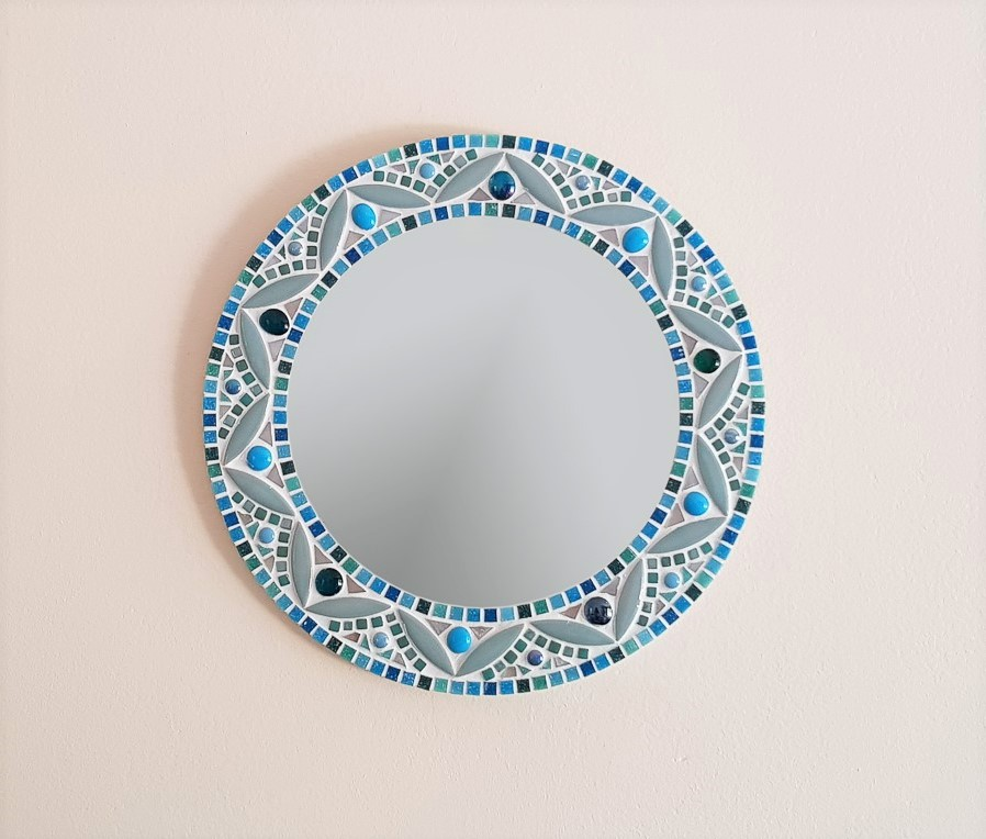 Mandala Mosaic Wall Mirror In Shades Of Blue Turquoise Pale Green Teal Pineapple Mosaics